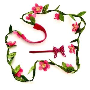 Flower crown headband and bow bobby pin